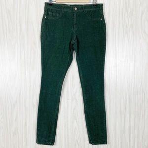 Pilcro | Dark Green Corduroy Serif Fit Pants